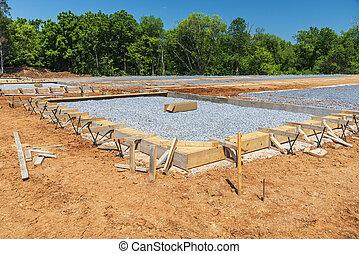 地面, 建築工事, 新しい, コマーシャル, 複合センター, 建物