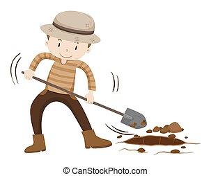 地面, 握住, 挖掘, 農夫