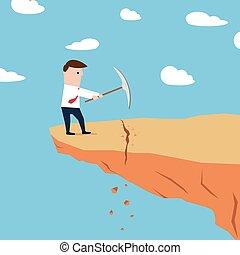 地面, 邊緣, 挖掘, 懸崖, 人