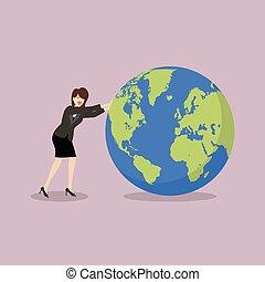 坂の上へ, 世界, 女, 押す, ビジネス