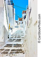 坂の上へ, 通り, 古い, mykonos