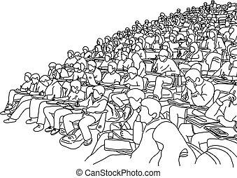 坂, スケッチ, 部屋, 生徒, 勉強, ライン, 隔離された, イラスト, 手, ベクトル, 大学, 勉強, いたずら書き, 引かれる, 背景, 白, 黒