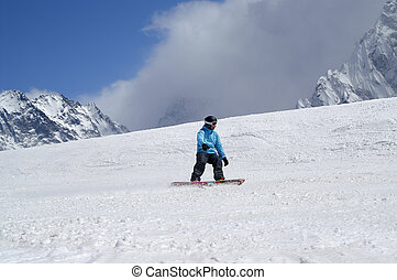 坂, 山, スノーボーダー, 雪が多い, 高く, スキー, 下り坂に