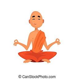 坐, 佛教徒, 字, 僧侶, 插圖, 卡通, 沉思, 矢量, 背景, 橙, 白色, 長袍