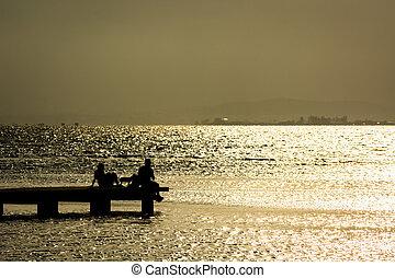 坐, 在, the, 船塢, ......的, a, 海灣