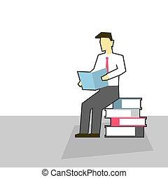 坐, 堆, 阅读, 书, 商人
