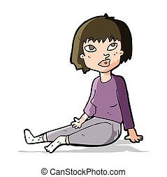 坐, 妇女, 卡通漫画, 地板