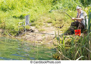坐, 湖, 邊緣, 釣魚, 高階人