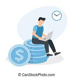 坐, laptop., 工作, 堆, 大的人, 硬幣