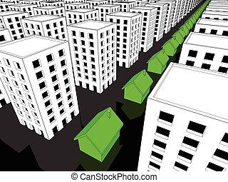 块, 许多, 房子, 绿色, 公寓, 行