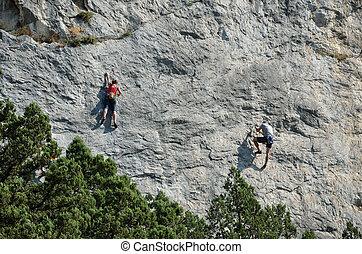 垂直に, 登山家, 岩