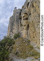 垂直に, cliff.