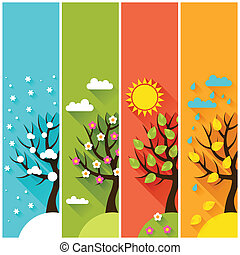 垂直的旗幟, 由于, 冬天, 春天, 夏天, 秋天, 樹。