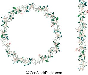 垂直, 圖案, 花冠, 被隔离, 一品紅, 輪, white., brush., 聖誕節, 無窮