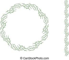 垂直, 圖案, 花冠, 被隔离, 輪, white., brush., 聖誕節, 無窮