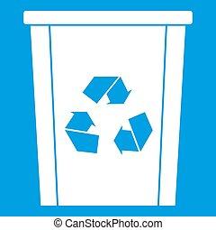垃圾桶, 由于, 再循環符號, 圖象, 白色