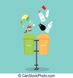 垃圾箱子, 分開, 分離, 浪費, inorganic, 瓶子, 有机, 垃圾, 再循環, 分開, degradable