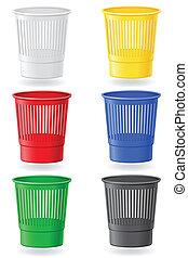 垃圾箱, 顏色, 矢量, 插圖