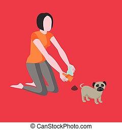 垃圾, 卫生学, 纸, 所有者, 女孩, 你, 排泄物, 宠物, 动物, 妇女, 标志。, 在之后, 移动, 符号, 打扫, excrements, dog., 小狗, , faeces., 勺子, 粪, 清洁, 图标, bag., 洗手间