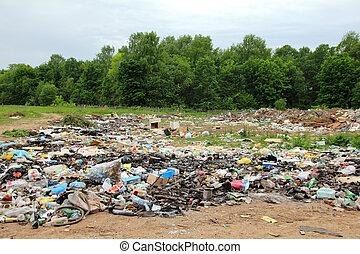 垃圾, 在中, landfill, 近, 森林