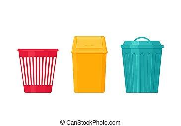 垃圾, 垃圾, 套間, bin., can., 矢量, design., illustration.