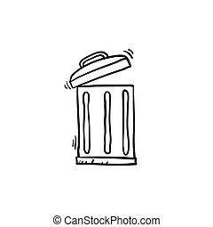 垃圾, 插圖, 心不在焉地亂寫亂畫, handdrawn, 罐頭, 風格, 矢量