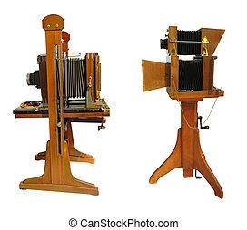 型のカメラ, 背景, ブラウン, 写真, 古い, 上に, 隔離された, 木製である, 白