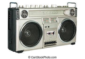 型のラジオ, カセット, レコーダー, 隔離された, 白