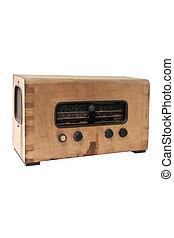 型のラジオ, 上に, a, 白い背景