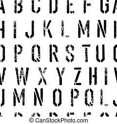 型板, グランジ, アルファベット, pattern., seamless, 黒, 白