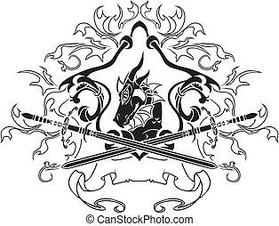 型板, 剣, 保護, ドラゴン