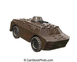 型, おもちゃの戦車, 白, 背景