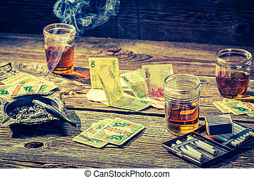 型, お金, ギャンブル, 不法入国者, カード, テーブル