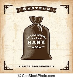 型, お金, 西部, 袋