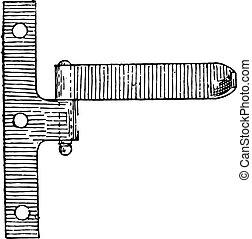 型, ちょうつがい, engraving.