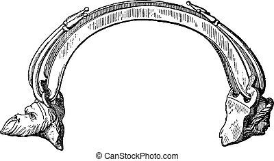 型, つぼ, ハンドル, engraving.