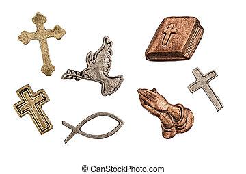 型, アイコン, 詳しい, 宗教, 装飾用である, 外気に当って変化した, 金属, 銅