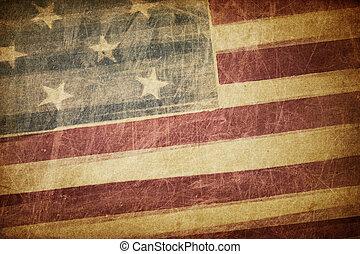 型, アメリカ人, グランジ, 旗, 背景
