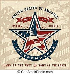 型, アメリカ, 独立, ラベル