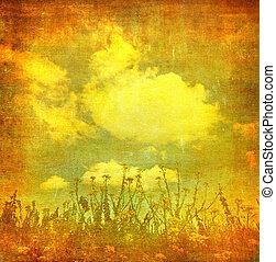 型, イメージ, 花, グランジ, 背景
