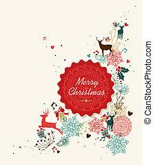 型, イラスト, ラベル, 陽気, 円, クリスマス