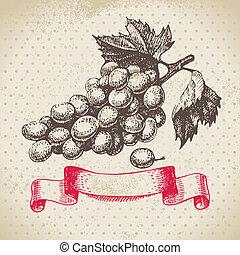 型, イラスト, 手, 背景, 引かれる, grapes., ワイン
