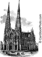 型, イラスト, armagh, 聖者, アイルランド, 大聖堂, 刻まれる, patrick's