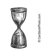 型, インク, hourglass., スケッチ