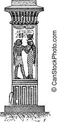 型, エジプト人, engraving., 柱