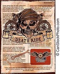 型, オートバイ, 背景, 頭骨