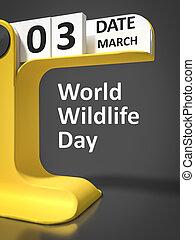 型, カレンダー, 野生生物, 世界, 日