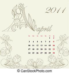 型, カレンダー, 2011