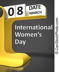 型, カレンダー, womens, 日, インターナショナル