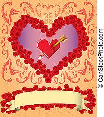 型, カード, バレンタイン
